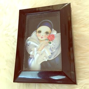 Harlequin girl face rose black lacquer jewelry box